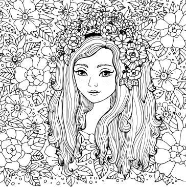 Güzel Kız Ve çiçekli Desen Boyama Tabloları Tablosu Tablodenizicom