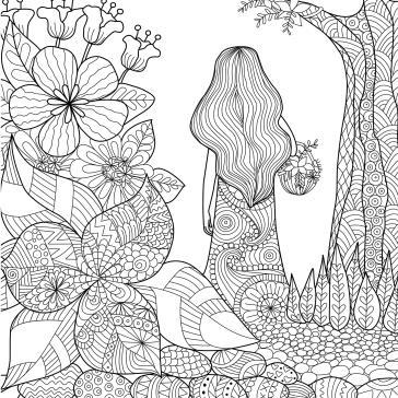çiçekler Ve Kız Boyama Tablo Boyama Tabloları Tablosu Tablodenizicom