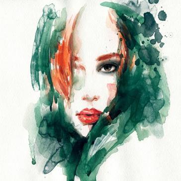 Kadın Yüzü Modern Dekorasyon Tablolar Sulu Boya Tabloları Tablosu
