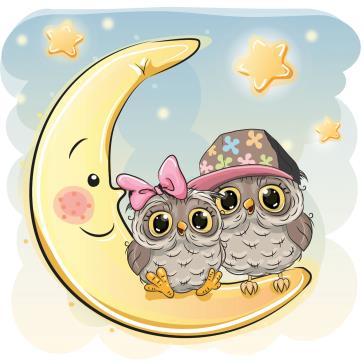 Sevimli Gece Kuşları Aydede çocuk Odası Tabloları Tablosu