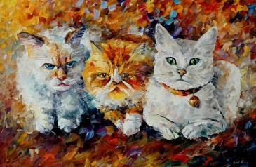 Kediler Yağlı Boya ünlü Ressamların Tabloları Leonid Afremov